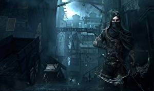 Картинки Thief Мужчины Маски Лучники Капюшон Garrett Игры Фэнтези