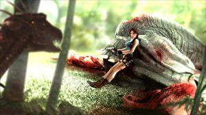Картинка Tomb Raider Динозавры Лара Крофт Кровь Игры Девушки