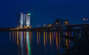 Картинка Вьетнам Реки Мосты Ночь Уличные фонари Ha Noi Города