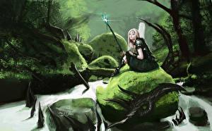 Картинка Воители Драконы Сидит Посохи Фэнтези Девушки