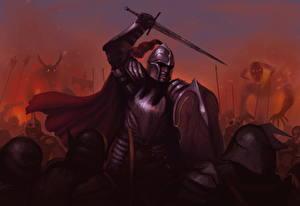 Картинки Воины Щит Мечи Шлем Броня