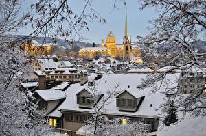 Картинка Зима Дома Швейцария Цюрих Снег Крыша Города