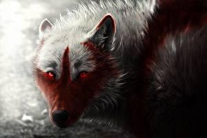 Фото Волки Рисованные Кровь Морда Смотрит Животные