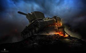 Картинки WOT Танки Русские Ночь KV-2
