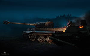 Фотографии World of Tanks Танки Немецкий Ночь Tiger