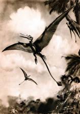 Картинка Zdenek Burian Древние животные Динозавры Крылья Черно белое Rhamphorhynchus Животные