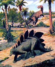 Картинка Zdenek Burian Древние животные Динозавры Stegosaurus and Ceratosaurus Животные