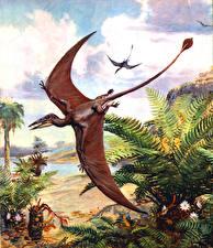 Обои Zdenek Burian Динозавры Древние животные Полет Pterosaur Rhamphorhynchus Животные