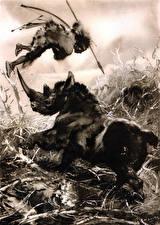 Обои Zdenek Burian Живопись Древние животные Копья Черно белое Hunting the hairy rhinoceros