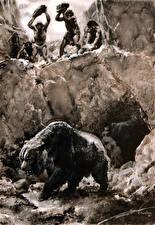 Фотография Zdenek Burian Живопись Древние животные Черно белое Hunting the Cave Bear
