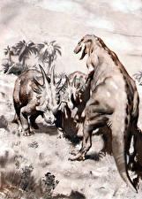 Фото Древние животные Динозавры Zdenek Burian Черно белое Styracosaurus Животные
