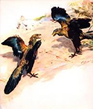 Фотографии Древние животные Zdenek Burian Archaeopteryx Животные
