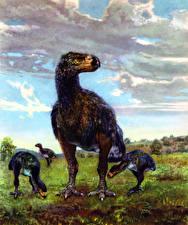 Картинка Древние животные Zdenek Burian Diatryma steini Животные