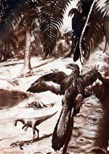 Фотография Древние животные Zdenek Burian Динозавры Черно белое Compsognathus end Archaeopteryx Животные