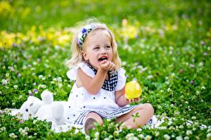Обои Яблоки Девочки Трава Улыбка Дети картинки