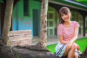 Фотография Азиаты Сидящие Шатенка Футболка Красивые Девушки