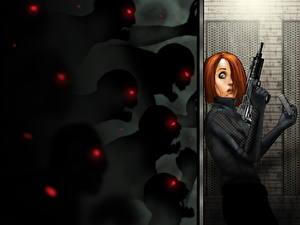 Картинка Автоматы Зомби Рыжая Страх Девушки