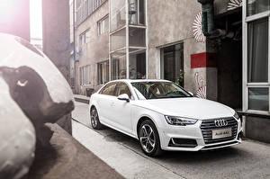 Картинка Audi Белый 2016 A4 L 45 TFSI quattro (B8) Автомобили