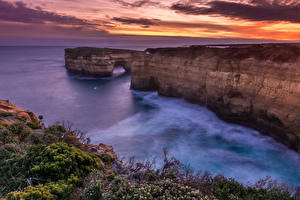 Картинки Австралия Океан Рассветы и закаты Побережье Скала Great Ocean Road Victoria Природа