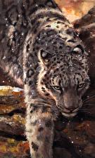 Фотография Большие кошки Барсы Рисованные