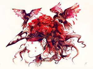Картинка Птицы Готика Фэнтези Голова Белый фон Фэнтези