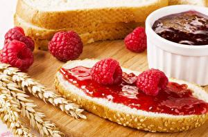 Картинки Бутерброды Повидло Малина Хлеб Колосок Еда