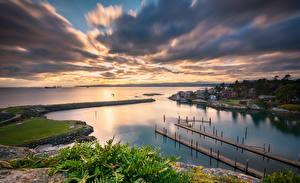 Фотография Канада Побережье Здания Пристань Вечер Озеро Облако British Columbia Природа