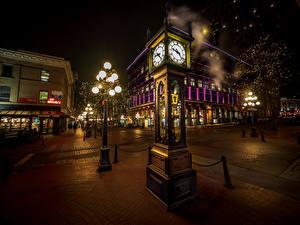 Фотографии Канада Дома Часы Ванкувер Улица Уличные фонари Ночные