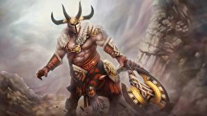 Картинка Кентавры DOTA 2 Centaur Warrunner Рога Боевые топоры / Секиры  Фэнтези
