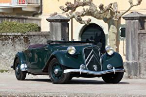 Фотографии Ситроен Ретро Зеленые Металлик Кабриолет 1938-39 Traction Avant 15-Six G Cabriolet Автомобили