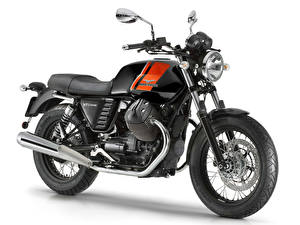Обои Крупным планом Белый фон 2014-16 Moto Guzzi V7 II Special Мотоциклы картинки