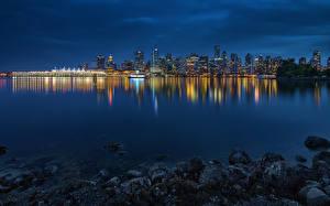 Фото Побережье Канада Здания Ванкувер Ночные Залив Stanley Park Города
