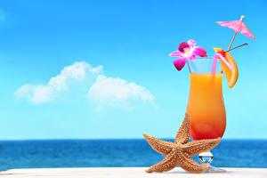 Картинки Коктейль Лето Морские звезды Небо Бокалы Еда