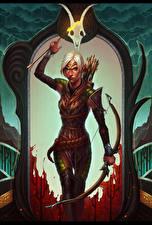 Картинка Dragon Age Лучники Воины Mahariel Девушки Фэнтези