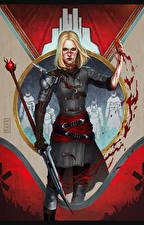Обои Dragon Age Воины Кровь Мечи Mia Hawke Игры Девушки Фэнтези
