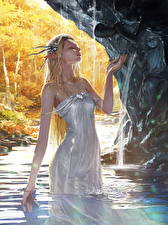Обои Эльфы Вода Legend of the Cryptids Платье Мокрые Игры Девушки Фэнтези