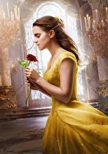 Обои Emma Watson Розы Красавица и чудовище 2017 Платье Фильмы Девушки Знаменитости