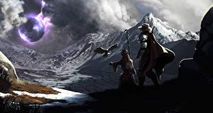 Картинки Фантастический мир Горы сфера Фэнтези