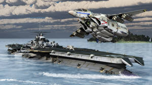 Картинка Самолеты Истребители Авианосец 3D Графика Армия Фэнтези