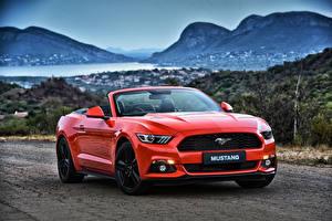 Картинка Ford Красный Кабриолет Convertible Mustang Машины