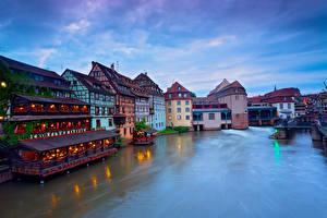 Фотография Франция Дома Реки Вечер Strasbourg