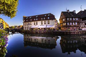 Обои Франция Здания Страсбург Водный канал