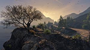 Обои GTA 5 Горы Деревья Природа