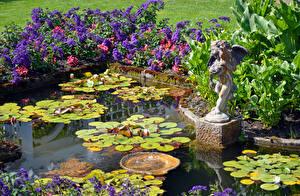 Фотография Сады Пруд Скульптуры Природа