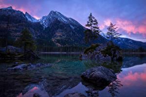 Картинки Германия Вечер Горы Реки Камни Пейзаж Бавария Мох Деревья Природа
