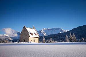 Фото Германия Зима Горы Дома Леса Небо Бавария Снег Ель Kranzbach Природа