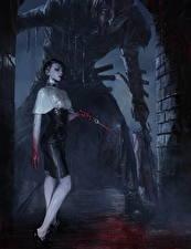 Картинка Готические Ножик Монстр Legend of the Cryptids Кровь Ночь Игры Фэнтези Девушки