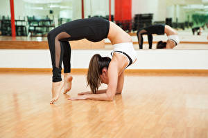 Обои Гимнастика Шатенка Тренировка Ноги Девушки Спорт