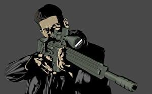 Фотографии Герои комиксов Снайперская винтовка Мужчины Векторная графика Снайперы Daredevil, The Punisher, Frank Castle Фэнтези
