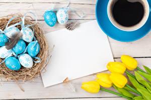 Фотография Праздники Пасха Тюльпаны Кофе Доски Яйца Шаблон поздравительной открытки Чашка Гнездо Цветы